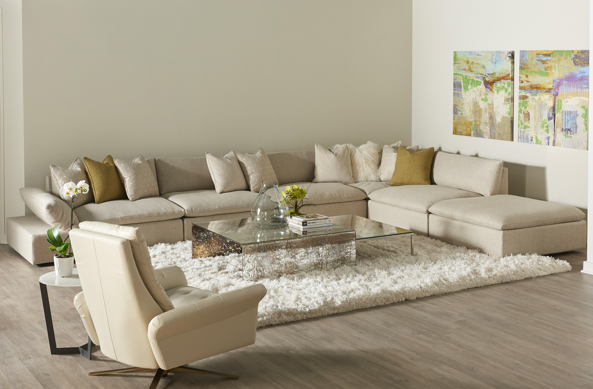 neutral color palette living room sectional and recliner