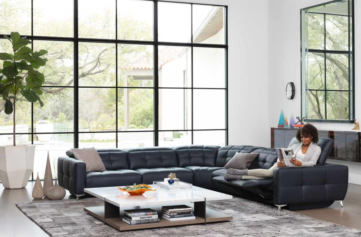 power reclining sectional blue leather